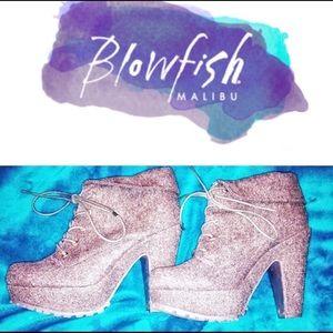 Blowfish Wool Platform Heel Lace Up Booties